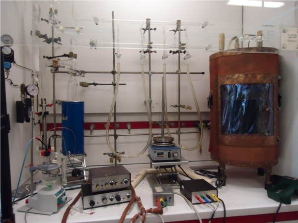 faraday cage and electrochemical setup in a fume hood
