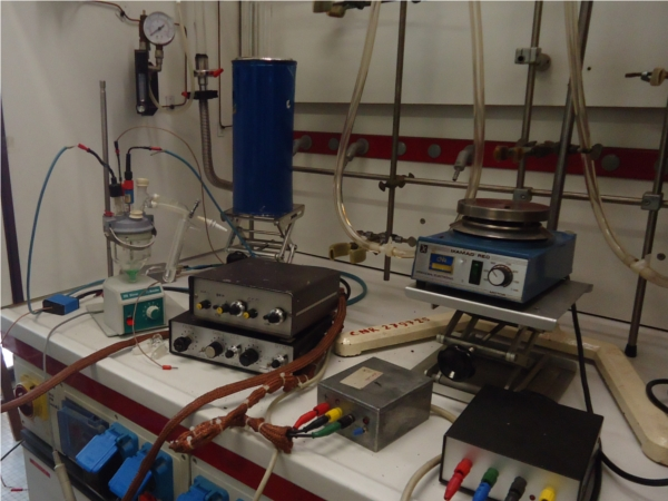 electrochemical apparatus in a fume hood